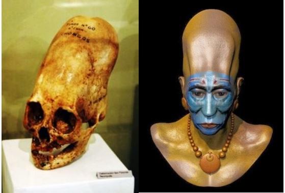 Simulación de un individuo con cráneo alargado (cultura Paracas)