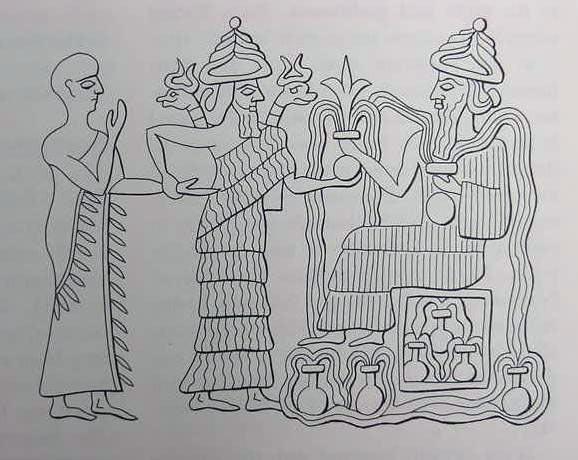 Ningishzida (figura central) con lo que Adapa de Eridu a Anu (en el trono a la derecha)