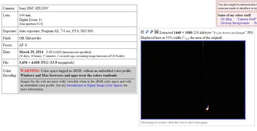 Análisis de fotografía capturada a las 3:40 A.M. Muestra que la fecha de creación de la imagen coincide con el relato del testigo