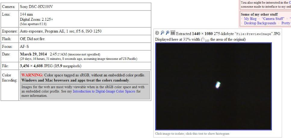 Análisis de fotografía capturada a las 2:45 A.M. Muestra que la fecha de creación de la imagen coincide con el relato del testigo