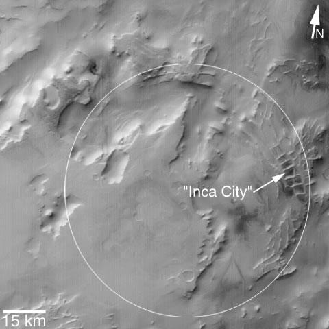 """La """"Ciudad Inca"""" es parte de una estructura circular. Crédito de la imagen: NASA / JPL / Malin Space Science Systems"""