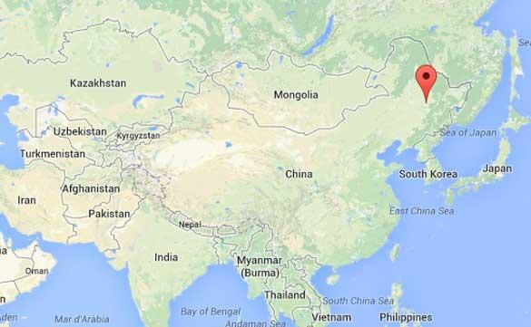 Mapa de Heilongjiang, China (marcador rojo) en relación a Kazajistán. (Crédito: Google Maps)
