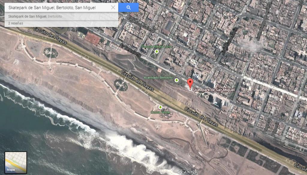 Ubicación del avistamiento en San Miguel, Lima, presenciado por Bettina Oneto