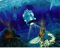 Concepto artístico de la penetración e investigación en la helada luna de Júpiter, Europa. Crédito: NASA / JPL-Caltech