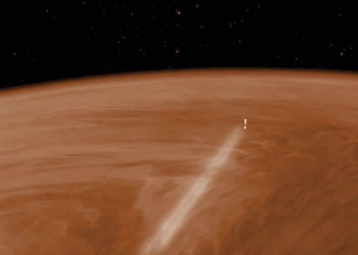 Concepción artística de Venus Express haciendo una maniobra de aerofrenado en la atmósfera en 2014 Crédito:. ESA-C. Carreau