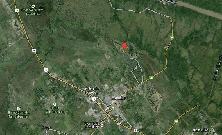 Lugar desde donde el testigo observó el OVNI. (Belén de Escobar, Buyenos Aires)