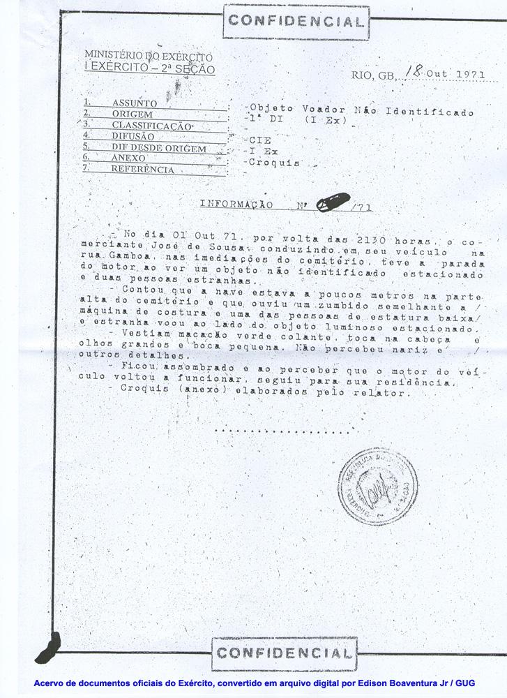Brasil, 1971: Documento Oficial emitido por el Ejército, relata el contacto con extraterrestres