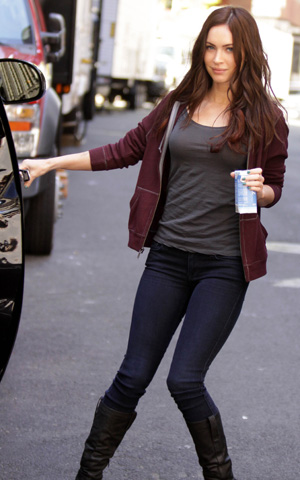 Megan Fox en el set en Nueva York durante el rodaje de Teenage Mutant Ninja Turtles.