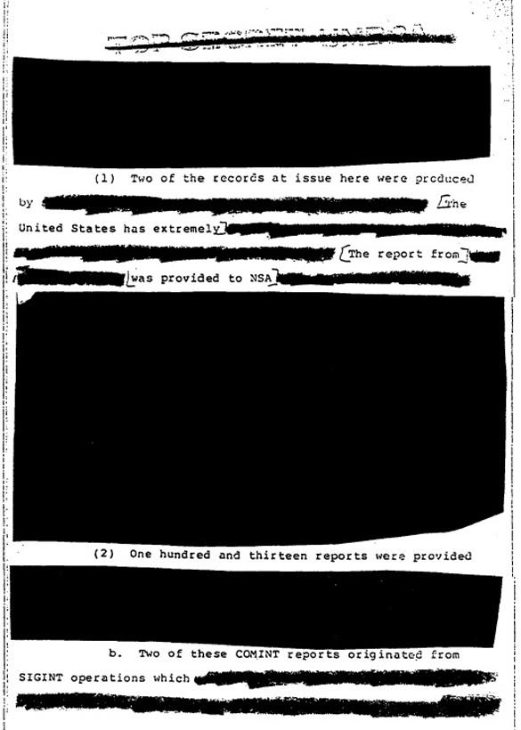Una página muy censurado de la declaración jurada Yeates. (Crédito: NSA)