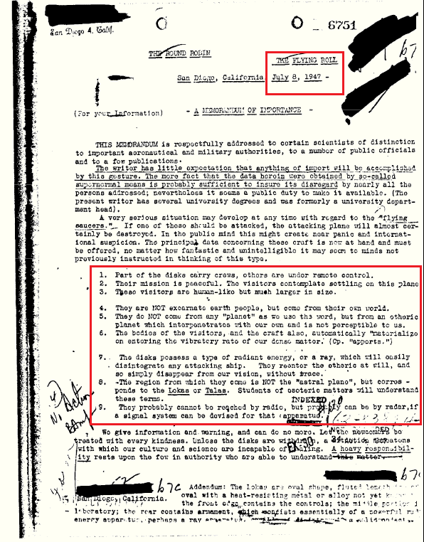 Extracto del Informe del FBI sobre Seres Extradimensionales