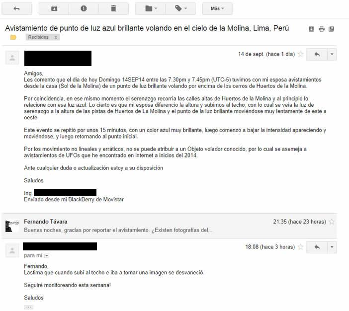 Testimonio de Objeto Aero- anómalo en La Molina, Lima, Perú (14/09/2014)
